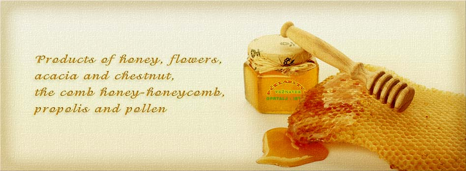 Products of honey, flowers, acacia and chestnut, the comb honey-honeycomb, propolis and pollen
